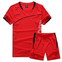 Men Active Short Sleeve T-Shirts Shorts 2 PCS