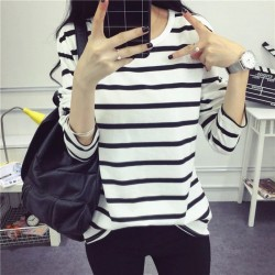 Girls Black White Stripes Long Sleeve Casual T-Shirt Manufacturer