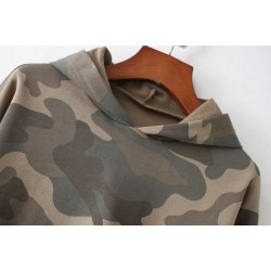 Cotton Custom Camouflage Pullover Hoodie with Logo for Women