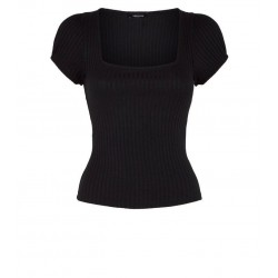Black Ribbed Square Neck Puff Sleeve T-Shirt Manufacturer Pakistan