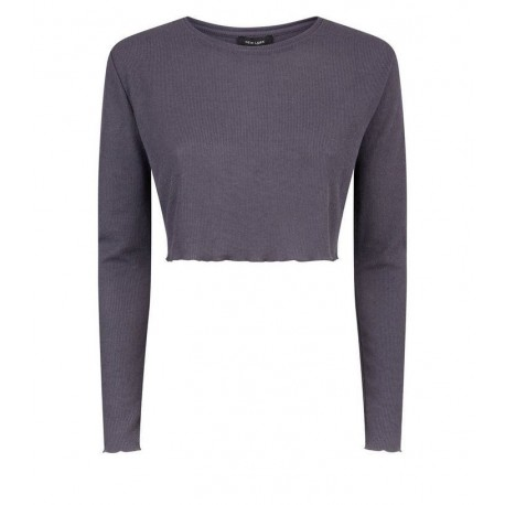 Grey Long Sleeve Fine Knit Crop Top Manufacturer Pakistan