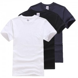 Solid Cotton T Shirt Men Classical Comfortable Summer T Shirt Short Sleeve Fashion Fitness Basic Undershirt M L XL XXL