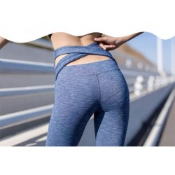 Fashion Woman Sportswear Hollow Hip Back Strap Middle Leggings