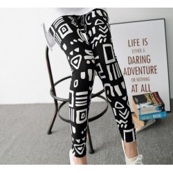 Hig Waist Comfortable Graffiti Milk Silk Ink Painting Stretch Legging for Women