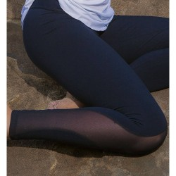 Fitness Legging-Black Supplex with Tulle leg design