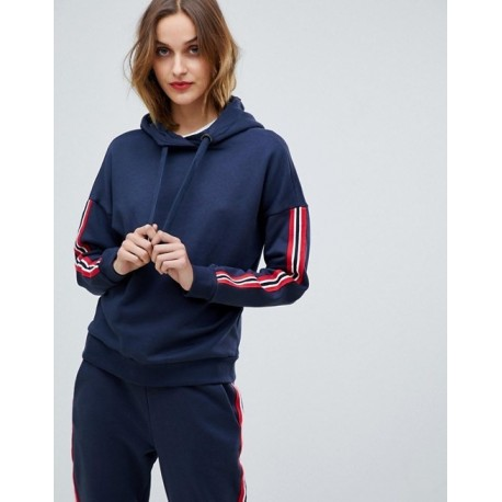 2019 Custom Women′s Polyster Cotton Blend Fleece Hoodie High Quality Long Sleeve with Contrast Stripes Fitted Design