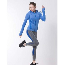 Women Athletic Compression Hoodie Blue Performance Top