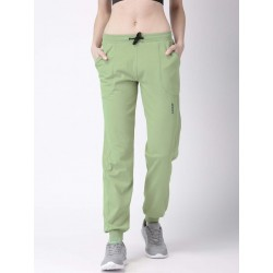 WOMEN OLIVE SOLID TRAINING TRACK PANT